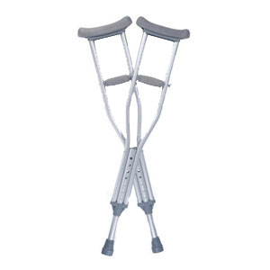 "Medline Industries Guardian® Quick-Fit® Child Adjustable Auxiliary Crutches, 31-1/2"" to 37-1/2"" Adjustment Range, 3ft 9"" to 4ft 7"" Adjustable User Height, with Push Button Adjusted Foot Piece with Fitting Guide GU53314"
