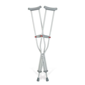 "Medline Industries Guardian® Red Dot® Youth Push-button Auxiliary Crutches 37"" to 45"" L Adjustment Range, 4ft 6"" to 5ft 2"" Adjustable User Height, Latex-free GU92214"