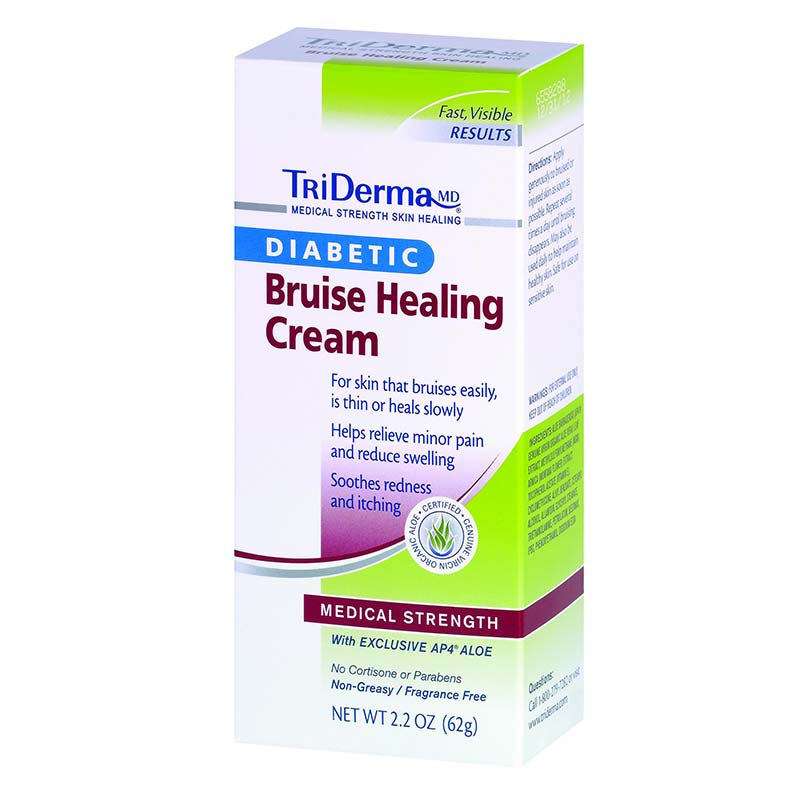 Genuine Virgin Aloe TriDerma® Diabetic Bruise Defense™ Healing Cream, Fragrance-Free, Non-Greasy 2.2 oz GVA65025