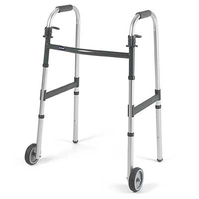 """Dual-Release Adult Paddle Walker with 5"""" Fixed Wheel INV62915F"""