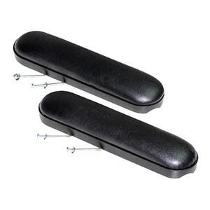 Invacare Desk Length Arm Pads with Screws, Black Vinyl Upholstery INV8881053570U67