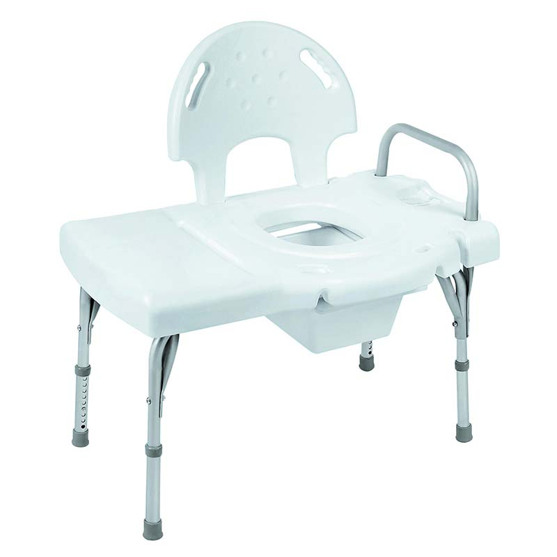 "Invacare I-Class™ Heavy-Duty Transfer Bench with Commode Opening 31-1/4"" to 35-3/4"" H x 30-1/4"" to 31"" W x 16-1/4"" to 17"" D INV9670C"