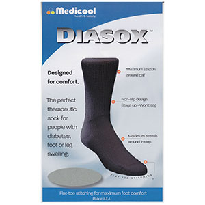 Diasox Seam-Free Sock, Large, Black MDDISBL