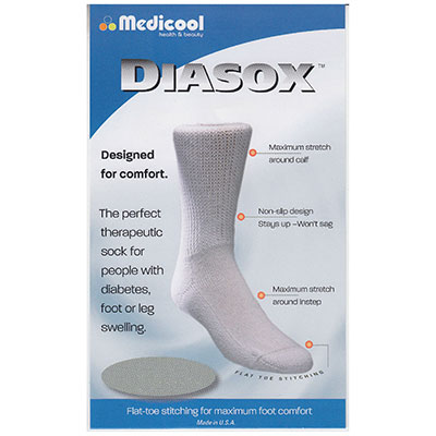Diasox Seam-Free Diabetes Socks Medium, White MDDISWM
