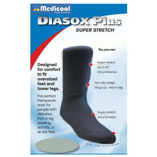 DiaSox Plus Oversize Socks, Small, Black MDISGDPBS