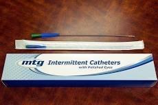 """MTG Straight Tip Male Intermittent Catheter, 16 Fr, 16"""" Vinyl Catheter with Handling Sleeve NB71116"""