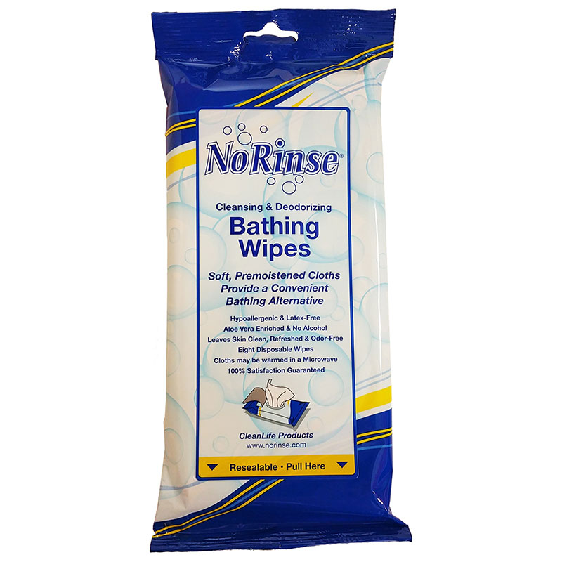 "Cleanlife Products No-rinse Bathing Wipes, Alcohol-Free 8"" x 8"" NR01000"