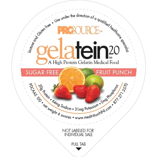 Prosource™ Gelatein 20 Fruit Punch Protein 4 oz Cup, 18-Month Shelf Life, 88 Cal NS11693