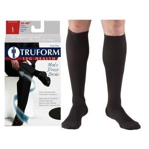Truform Men's Dress Knee High Support Sock, 30-40 mmHg, Closed Toe, Black, Large PD1954BLL