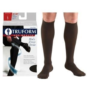 Truform Men's Dress Knee High Support Sock, 30-40 mmHg, Closed Toe, Brown, Small PD1954BNS