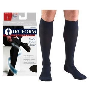 Truform Men's Dress Knee High Support Sock, 30-40 mmHg, Closed Toe, Navy, Medium PD1954NVM