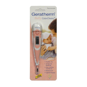 Geratherm® Baby ColorChoice® Digital Thermometer Pink, 100% Waterproof RGM30060