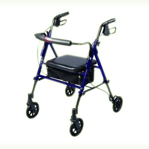 "Carex Health Brands Step N' Rest® Roller Walker with Adjustable Seat 22-1/2"" W x 29"" D x 29-1/2"" to 39"" H, 29-1/2"" to 38-1/2"" Height Adjustment, Easy-to-Fold RMA22300"