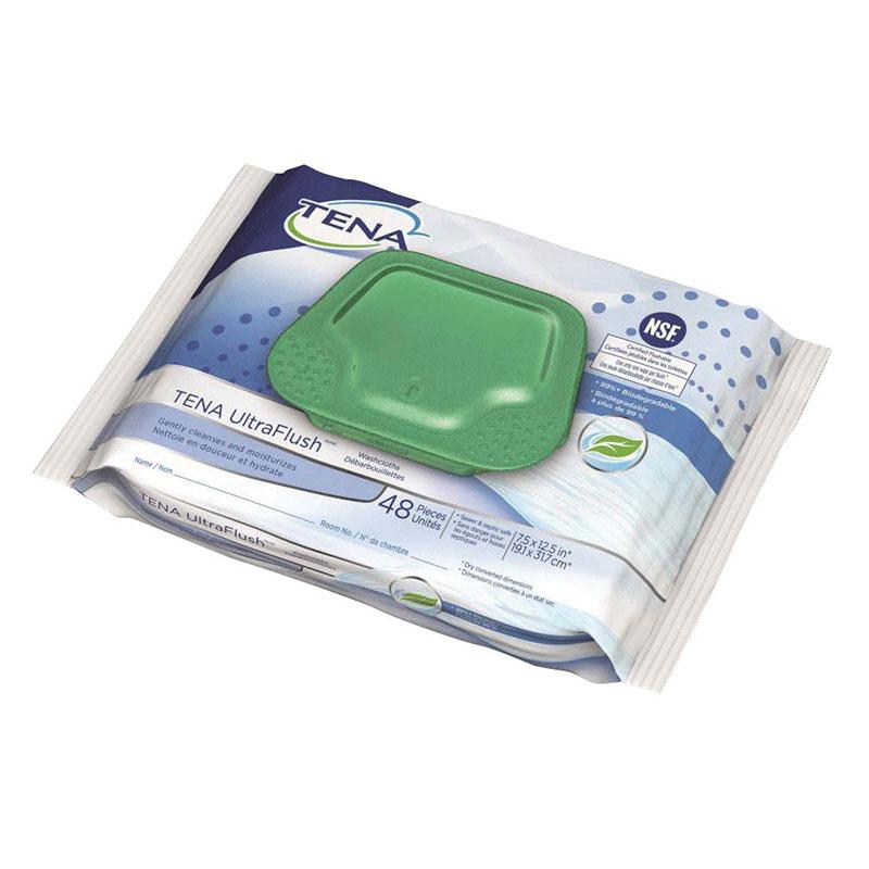 """Tena Ultra Flush Washcloth, 7.5"""" x 12.5"""" SQ65726"""