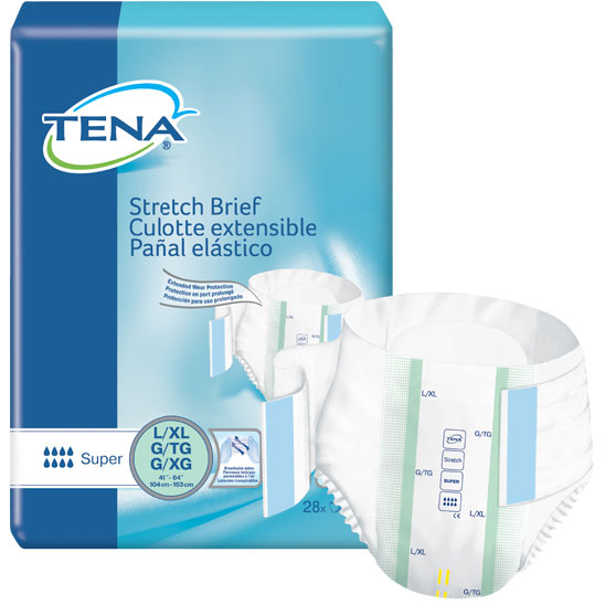 """TENA Stretch Super Brief Large/X-Large 41"""" - 64"""" SQ67903"""