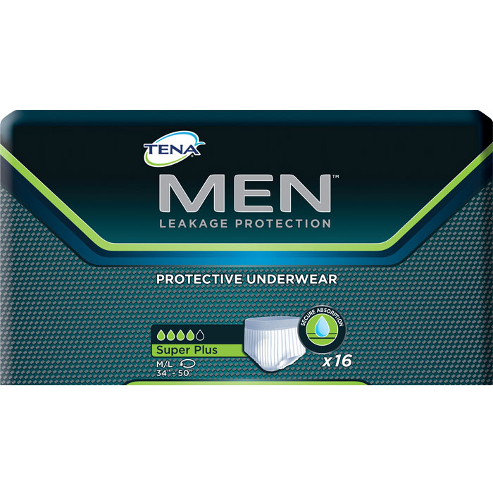 "TENA Men Protective Underwear, Super Plus, Medium/Large 34""""-50"""" SQ81780"
