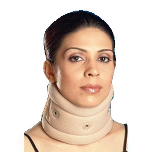 "Scott Specialties Cervical Collar Soft Medium Natural, 11"" to 15"" Neck, 2-1/2"" W at Chin, 1"" Thich Foam Covered with Stockinette, Contoured Shape with Chin Cut-Out, Hook and Loop Closer SS3025MD"