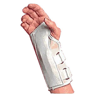 "Scott Specialties Canvas Cock-up Right Wrist Splint with Spoon Stay Medium, 3"" to 3-1/2"" Wrist Circumference, White SS3957WRMD"