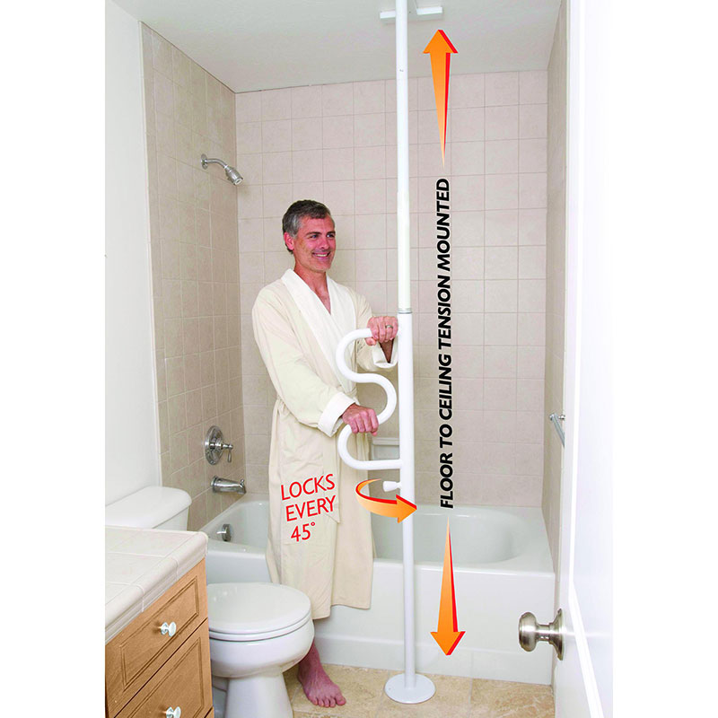 Stander Security Pole and Curve Grab Bar White, Fits 7 ft. to 10 ft. Ceiling Height STD1100W