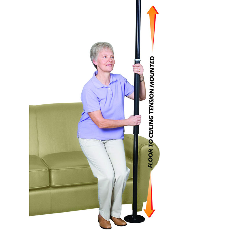 Stander Security Pole Black, 7 ft. to 10 ft. Ceiling Fits STD1150B