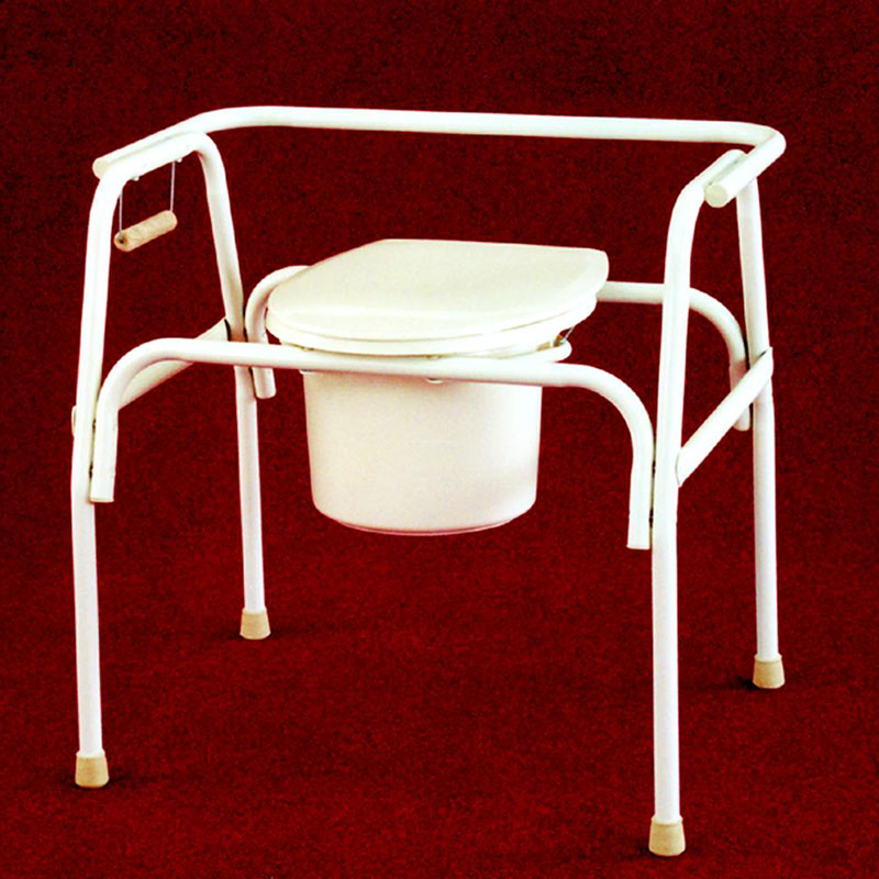 """Tubular Fabrications Bedside Commode with Elongated Seat XL, 18"""" to 21"""" H x 14-3/4"""" x 19"""" D Seat TFI3240"""