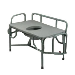 """Tubular Fabrications Duty Drop Arm Commode with Elongated Seat, 1000 lb Weight Capacity, Dove Gray, 20-1/2"""" H x 36"""" x 21"""" D Seat TFI3243"""