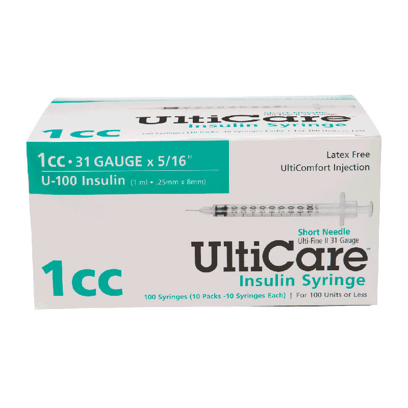 "Ultimed UltiCare™ Short Needle Insulin Syringe 1cc, 31G x 5/16"" Needle UT09419"