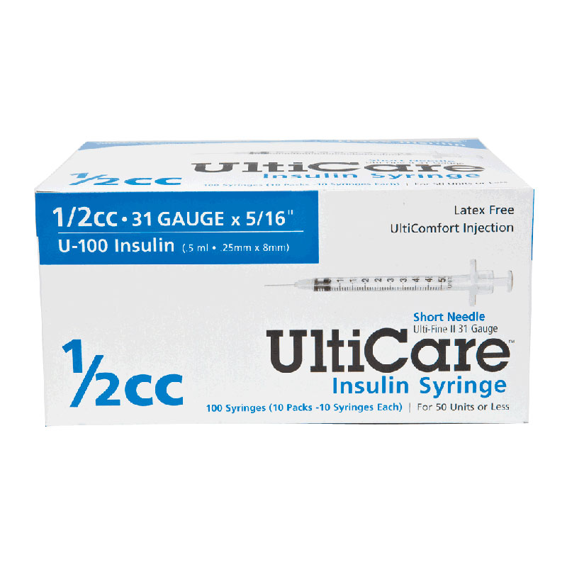 "Ultimed UltiCare™ Short Needle Insulin Syringe 1/2cc, 31G x 5/16"" Needle UT09459"